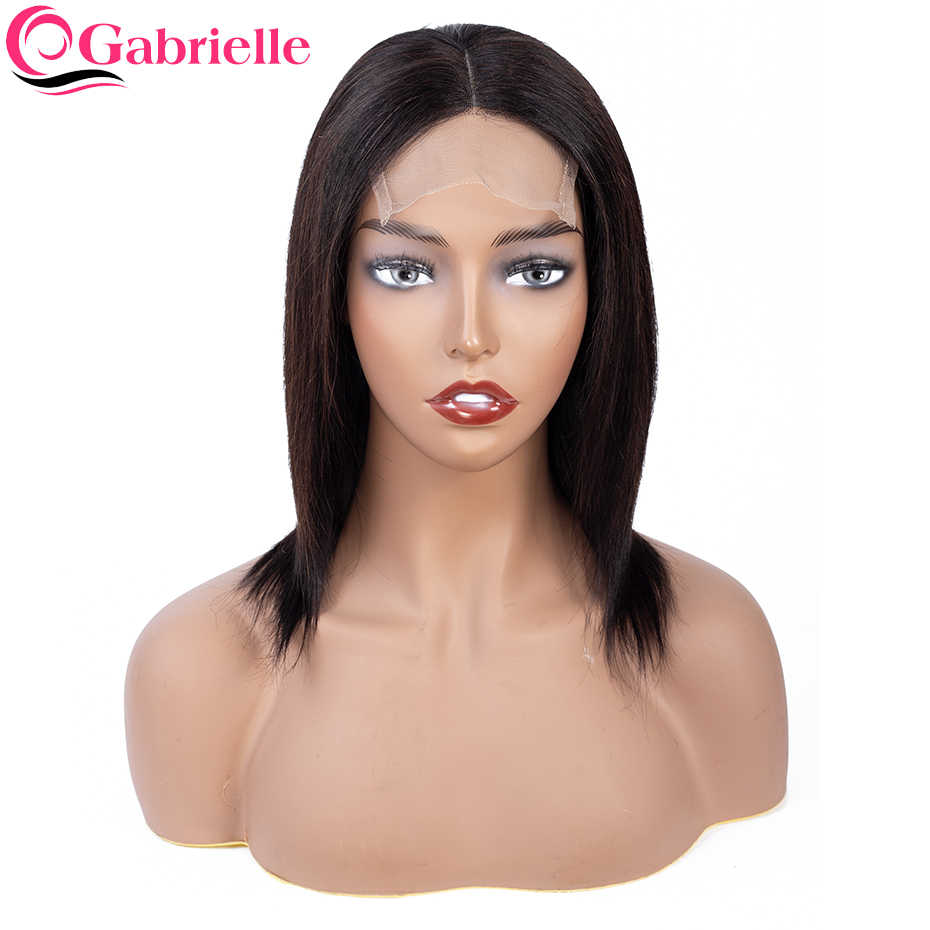 Gabrielle 4x4 lace front wig Brazilian Straight Human Hair Lace Front Wigs 8-26inch Non-remy Short Bob Wigs For Women