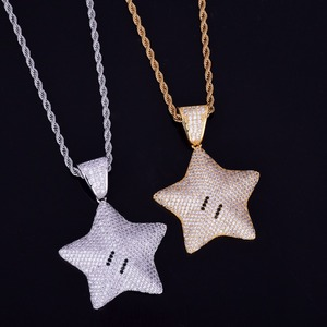 Image 5 - Cartoon Star Pendant Necklace Chain Charms Bling Cubic Zircon Mens Hip hop Jewelry Tennis Chain For Gift