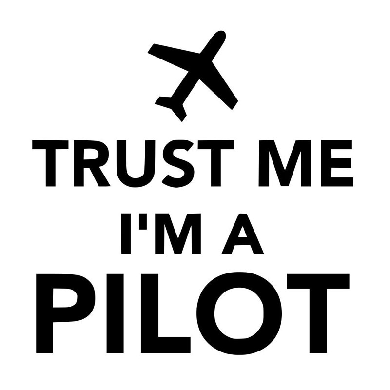 15CM*15.2CM Trust Me Im A Pilot Airplane Funny Cool Reflective Car Sticker Motorcycle Car Decal Accessories Black/Sliver C8-1379