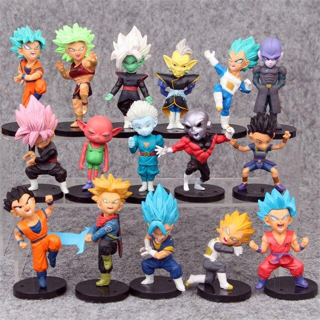 16 pçs/set Super Dragon Ball Brinquedos Son Goku/Gohan/Zen O/Jaco/Troncos/Mai/ zamasu/Grand Sumo Sacerdote/Vegeta PVC Figurinhas Colecionáveis