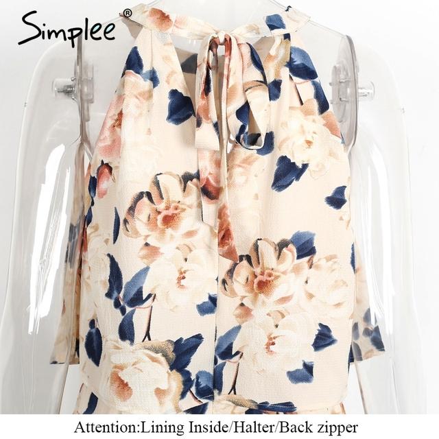 Simplee Halter ruffle women jumpsuit romper Summer beach sleeveless floral elegant playsuit Sexy off shoulder lining overalls