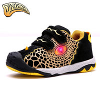 Dinoskulls 2018 Boys Genuine Leather Shoes Children Luminous Sneakers Eye Flashing Leisure Casual Breathable Kids Running