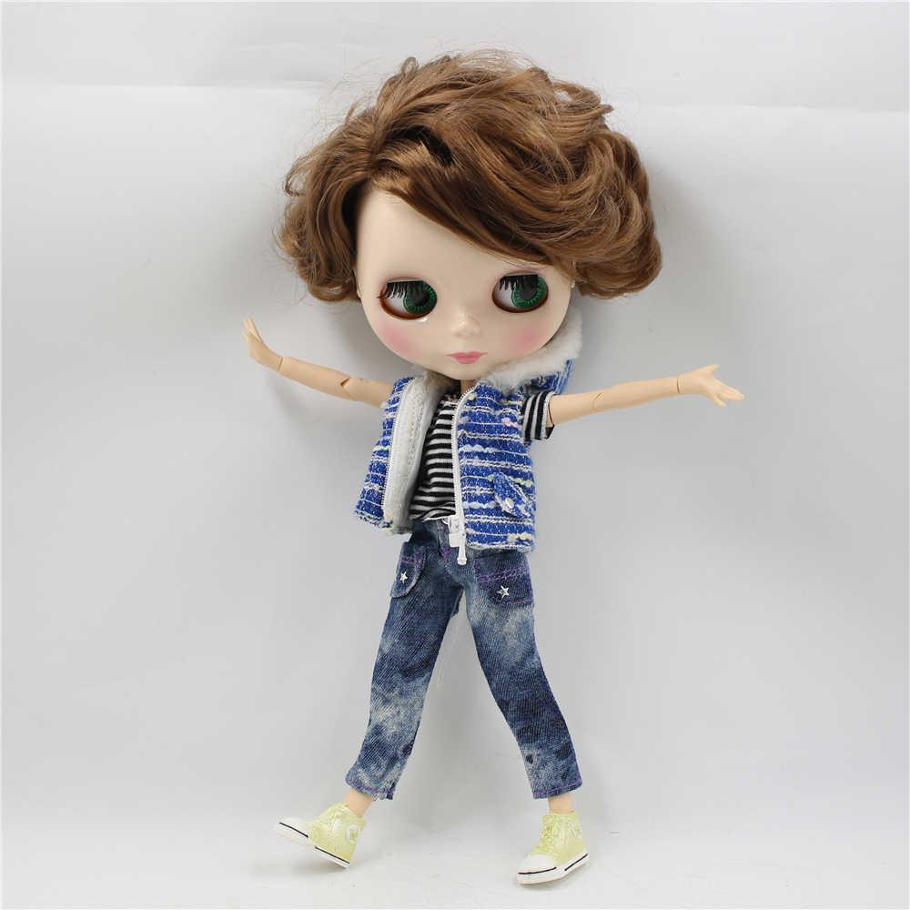 Blyth 1/6 кукла обнаженной формы, мужское тело с короткой коричневой стороной, распущенные волосы, глянцевое лицо, 30 см, кукла для мальчика, ледяная, сделай сам, bjd игрушка, подарок № BL9158