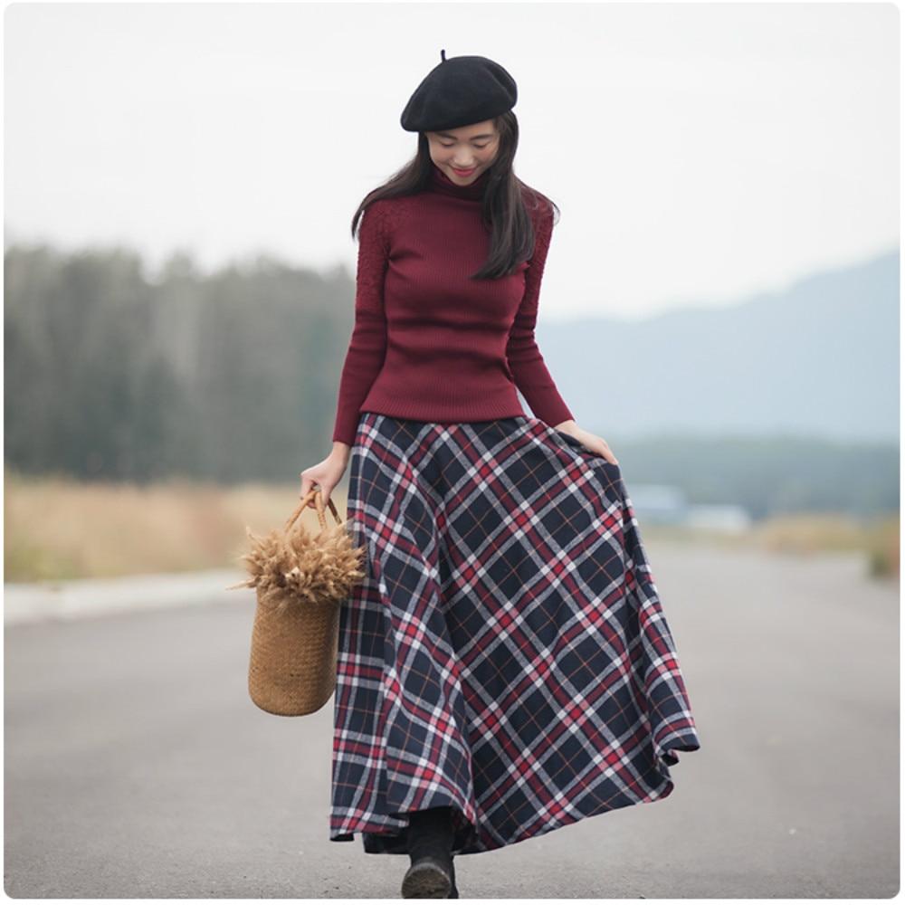 2018 Primavera Retro Grueso Faldas Red Casual Lana Navy Vintage Mujeres Otoño Falda Nuevo Calidad A Línea Plaid Mujer Más Larga Maxi Cuadros Blue 50's Alta PEq5n