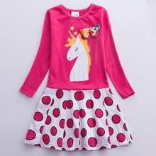 Spring 2019 Girls Dress Cotton Long Sleeve Unicorn Floral Kids Dresses for Party Children Cartoon Vestidos