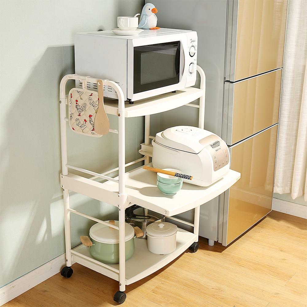 Tre pneumatico rack di stoccaggio per la cucina bagno soggiorno libro macchina per il caffè a microonde rack di stoccaggio bianco con ruote DQ1217 - 4