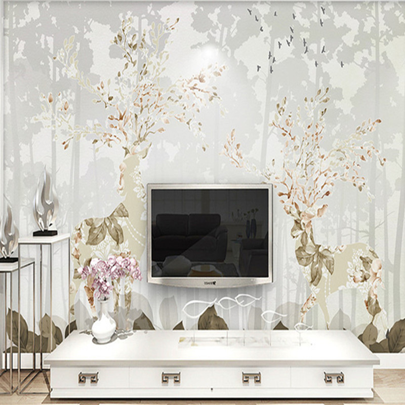 3D Custom Large Wallpapers Animal Photo Wall Murals Modern Tree Elk Kids Mural Walls Papers for Living Room Bedroom Home Decor modern embossed 3d wallpapers rolls luxury striped wallpapers non woven desktop wall papers home decor bedroom walls coverings