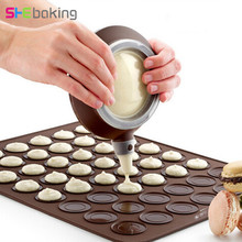 Shebaking 1pc Large Size 48 Holes Silicone Macaron Baking Mat 3D Muffin Dessert Chocolate DIY Pastry Tools