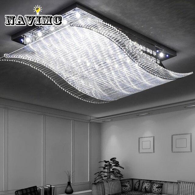 Coloré Moderne Vague LED Télé mande K9 Cristal Plafonnier pour