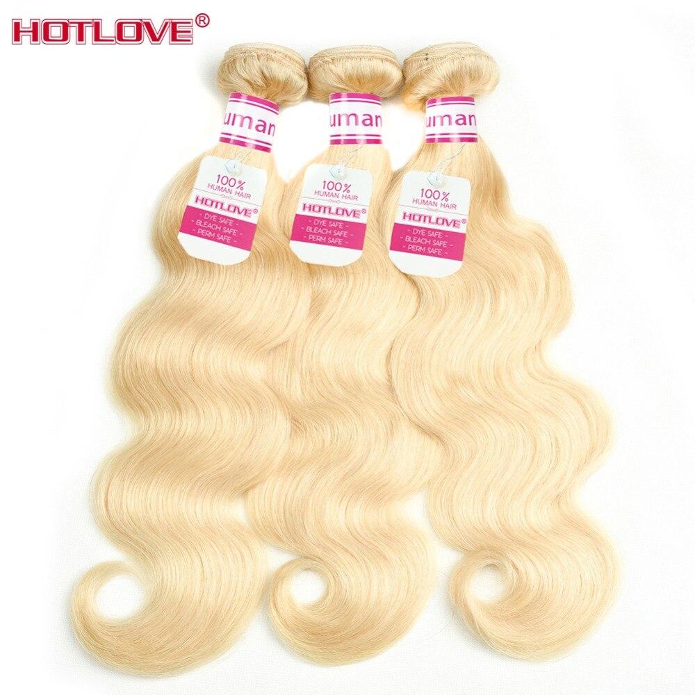 Neue Mode Körper Welle 613 Blonde Bundles 1/3 Pcs Brasilianische Haarwebart Hotlove 100% Menschliches Haar Honig Blonde Bundles Remy Haar Doppel Schuss Haarverlängerungen Haarverlängerung Und Perücken