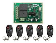 Nueva DC12V 2CH RF Sistema de Interruptor de Control Remoto Inalámbrico Receptor Transmisor con Dos botones para Aparatos de Puerta de Puerta de Garaje