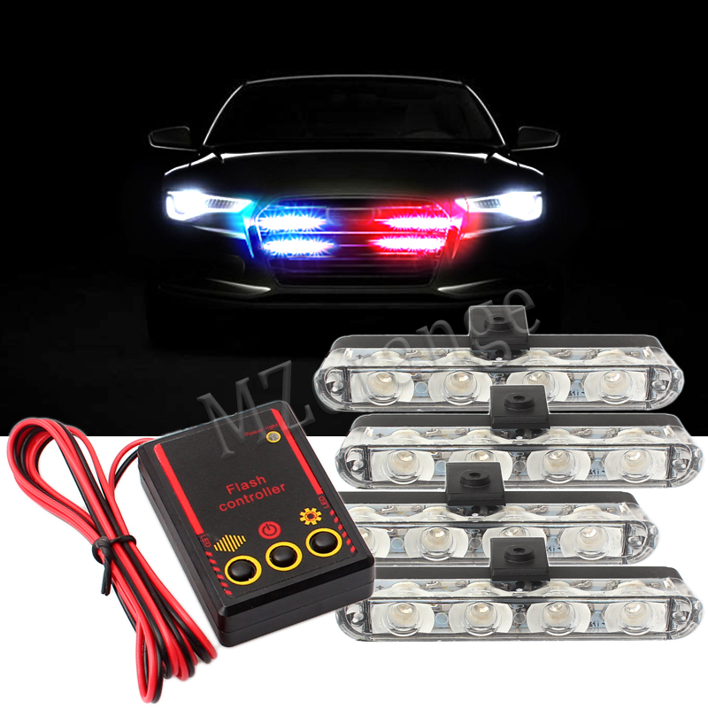 DC 12V Strobe Warning light 4x4LED Police light Flashing Firemen Lights Ambulance White Yellow Red Blue Car Truck Light dc 12v 4x3 led led car motorcycle flash light strobe flash warning police truck light flashing firemen lights red blue green