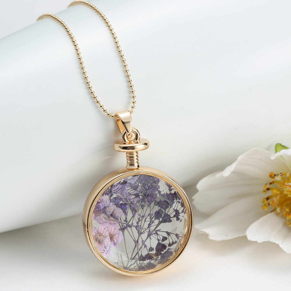 Plant diy locket dried flower bottle glass locket necklace free plant diy locket dried flower bottle glass locket necklace free shipping 2017 new trendy women pendant necklace gift natural in pendant necklaces from mozeypictures Images