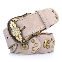 Korean Style Vintage Rhinestone Leather Belt For Women Red Coffee Brown Rivet Jean Belt Casual Street