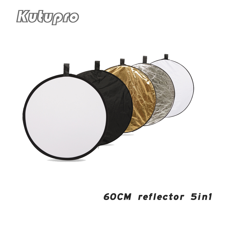 "Pro 24"" 60cm 5 In 1 Portable Collapsible Light Round Photography White Silivery Reflector For Studio Multi Photo Disc Diffuers"