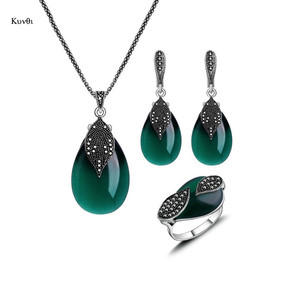 Natural Stone Pendant Necklace Earrings Rings Sets for Women Hot Vintage Silver Red Green Water Drop Opal Jewelry Sets Gifts(China)