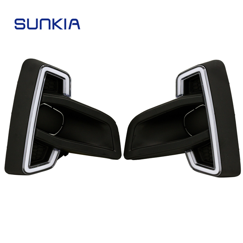 2Pcs/Set SUNKIA Car Styling Daytime Running Lights LED DRL for Toyota Hilux Revo Rocco 2018 2019 Day Lamp with Turn Signal 2pcs pair sunkia high bright car led drl car styling daytime running lights with fog lamp hole for toyota chr c hr 2016 2017