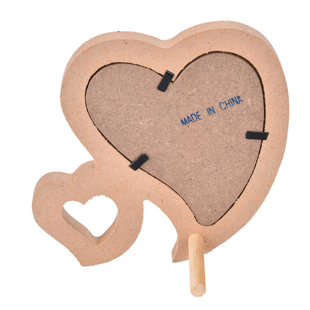 Lovely Double Heart Shaped Photo Frame Wooden Family Photo Picture Frame With Frame Bracket DIY Home Decor Art 1Pc