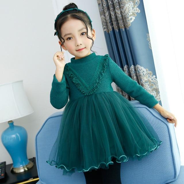 Толстые теплые Обувь для девочек платье Длинные рукава Осень зимний свитер одежда платье принцессы на день рождения и Свадебная вечеринка для От 4 до 12 лет