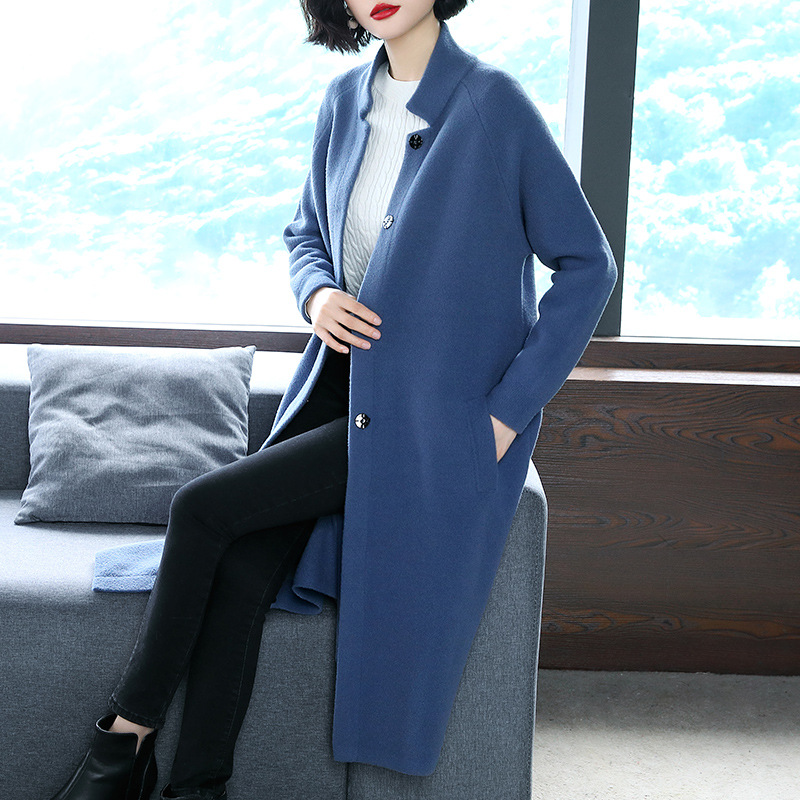 Mode green Automne Hiver Nouveau Laine Chaud Populaire Manteau blue Beige Femmes Veste Marée De Long qaFHt6