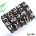 FL122-punk charm braided rope metal bracelet,ethnic tribal wristband, genuine leather bangles for men (5pcs/lot) free shipping