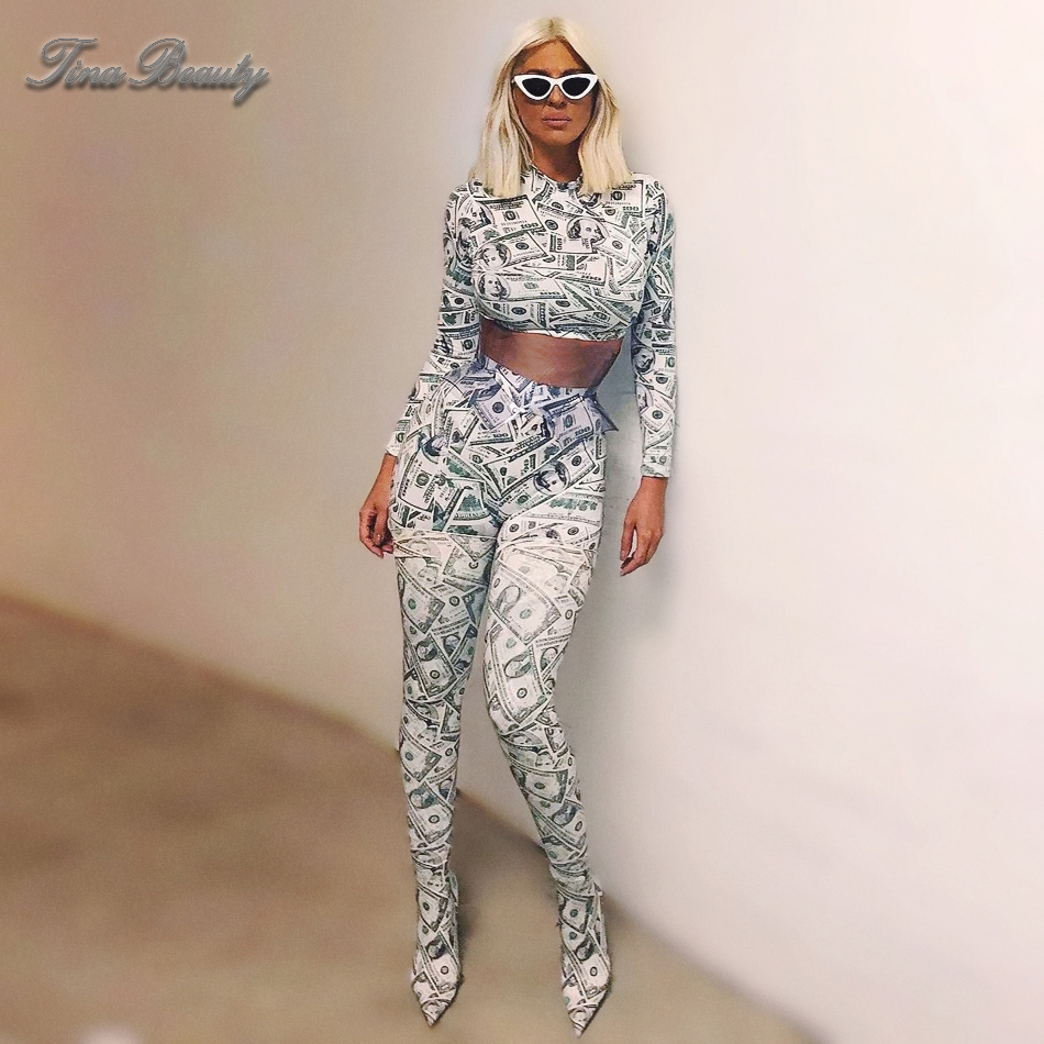 2019 Spring Womens Dollar Print 2-Pcs Two Piece Sets Long Sleeve Midriff Print Top & Elastic Waist Skinny Silky Pants Tracksuit