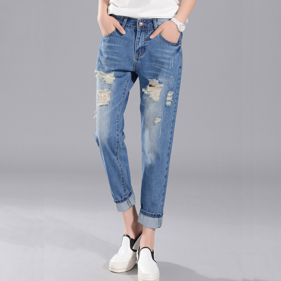 26 34 Big Size Loose Hole Jeans Female Thin Summer scratch Worn Nine Korean haren pants