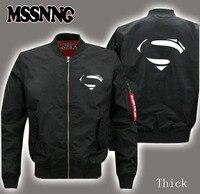 Men's flight jacket Bomber wool liner print Superman The Flash Batman superhero fastest speed of transportation plus size