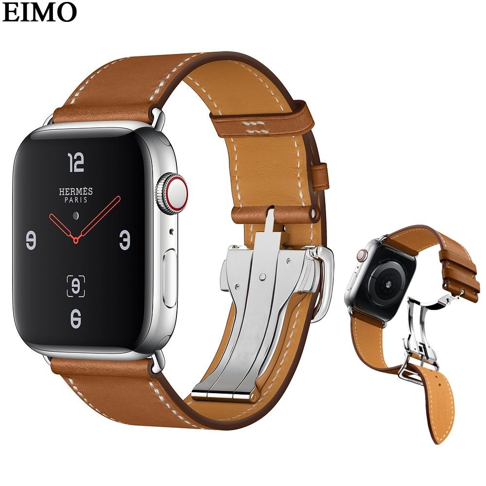 все цены на EIMO Single Tour Deployment Buckle Strap For Apple Watch 4 44mm 40mm 42mm 38mm Iwatch Band 3/2/1 Fauve Barenia Leather Bracelet онлайн