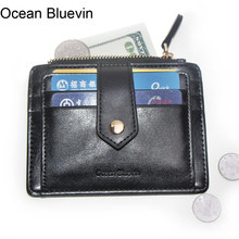 Ocean Bluevin Quality Men Driver License ID Holders Quality 2 Folds Lightweight Zipper Buckle Credit Card Holder Cateira Wallet(China)