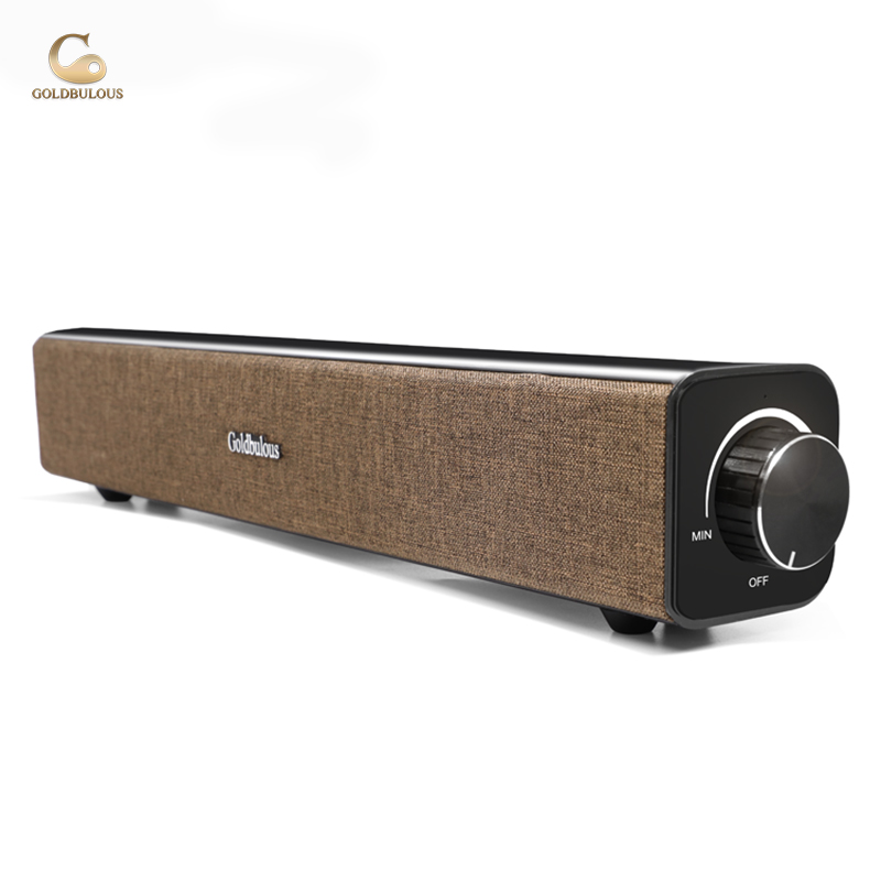Goldbulous soundbar computer bluetooth speaker 20w super bass sound system with aux audiofor pc tv home theater speakers