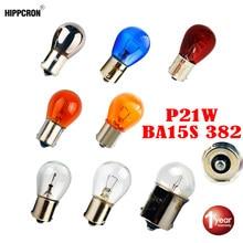 Hippcron lâmpada s25 ba15s 12v/24v 21w 382 p21w 2 peças azul/transparente/prateado lâmpada de vidro para freio automotivo/cromada/âmbar/vermelha