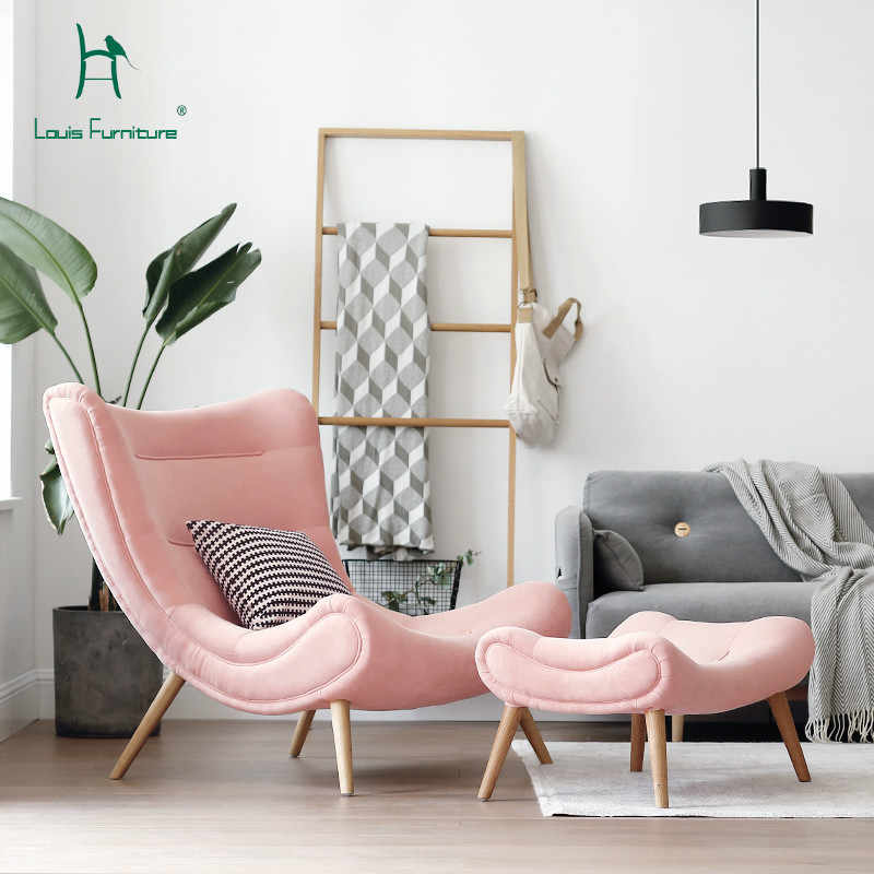Louis Fashion Single Sofa  Nordic Style Living Room Furniture Pink Small Snail Chair Modern Simple Cloth Art Tiger Chair.