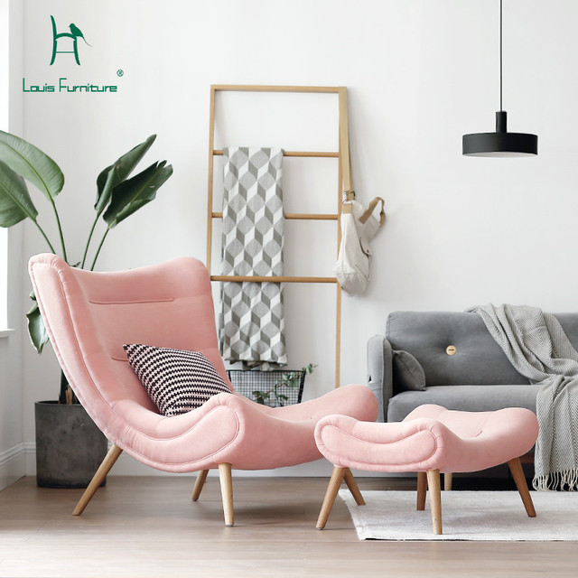 Louis Fashion Single Sofa Nordic Style Living Room Furniture Pink ...