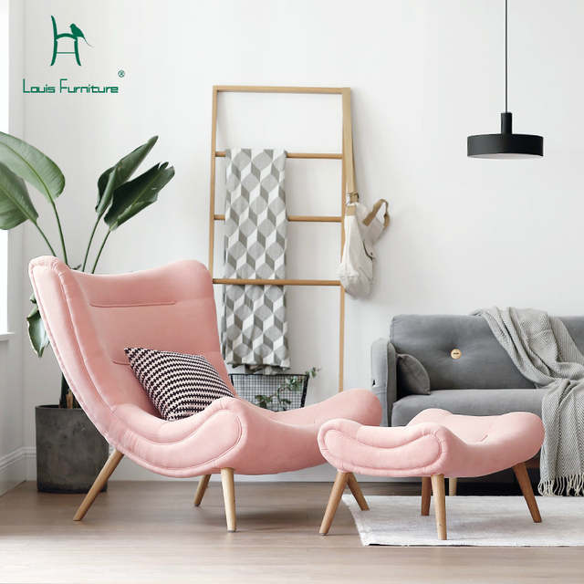 US $199.0 |Louis Fashion Single Sofa Nordic Style Living Room Furniture  Pink Small Snail Chair Modern Simple Cloth Art Tiger Chair.-in Living Room  ...