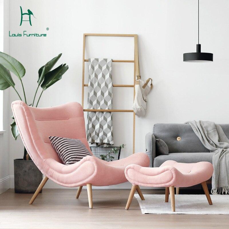 Sofá de estilo nórdico a la moda de Louis, muebles de sala de estar, silla pequeña de Caracol rosa, moderna y Simple, silla de tigre de Arte de tela.