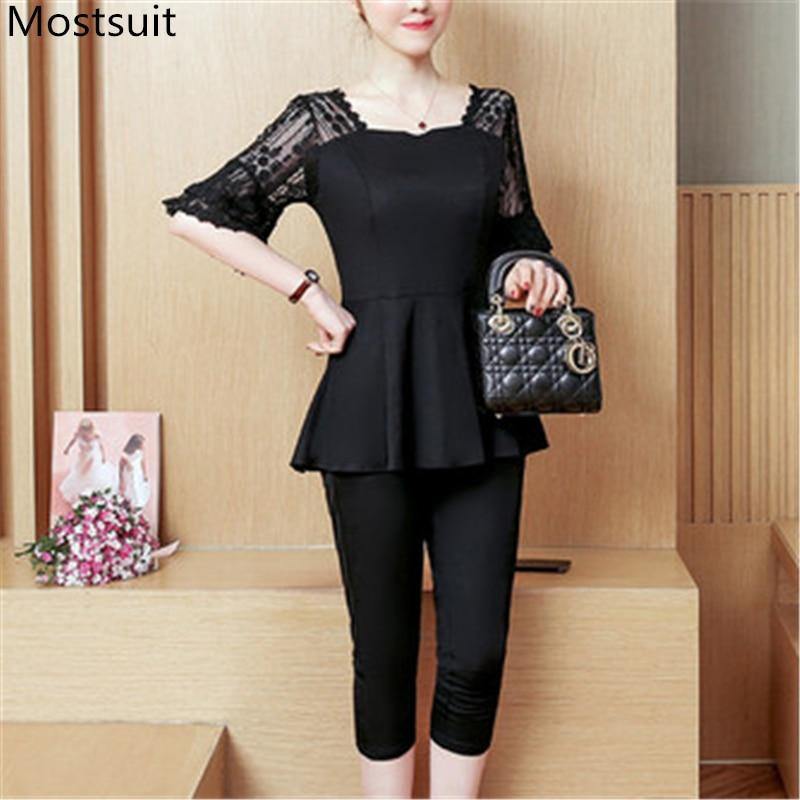 L-5xl Plus Size Black Lace Splice Two Piece Set Women Summer Lady Office Elegant Short Sleeve Tops + Elastic Waist Pants
