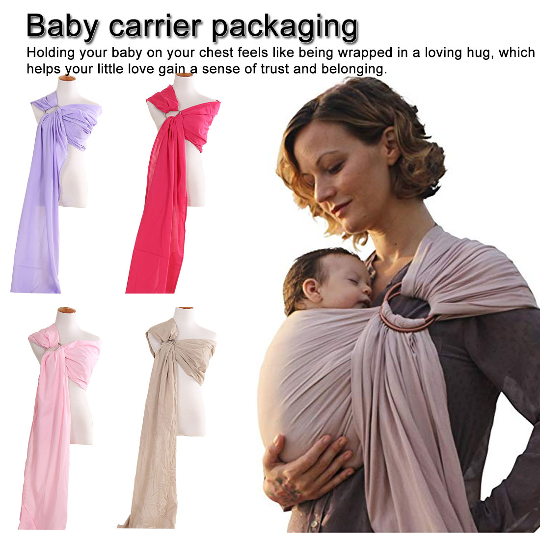 Baby Infant Sling Wrap Soft Natural Wrap Fashion Mother Baby 0-2 Yrs Breathable Cotton Nursing Cover Stylish Baby