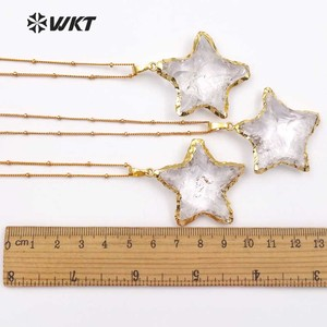 Image 5 - WT N1119 Wholesale Fashion Diy Knotted Crystal Quartz Necklace pendant Natural Stone Star with gold trim necklace jewelry