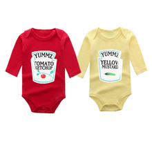 Culbutomind Winter style Long sleeve Yummz Tomato Ketchup Red&Yellow Baby Bodysuit 1ST Birthday Gift