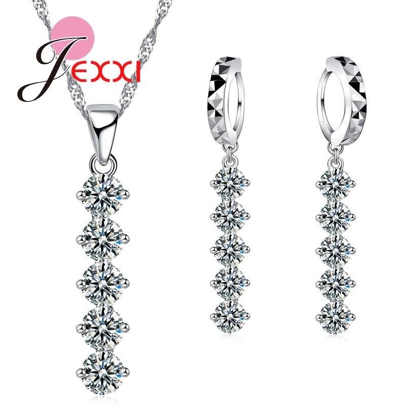 100% QualitäT Charming Brautschmuck Sets Frauen 925 Sterling Silber Anhänger Set Kristall Shinning Halskette Ohrringe QualitäT Zuerst