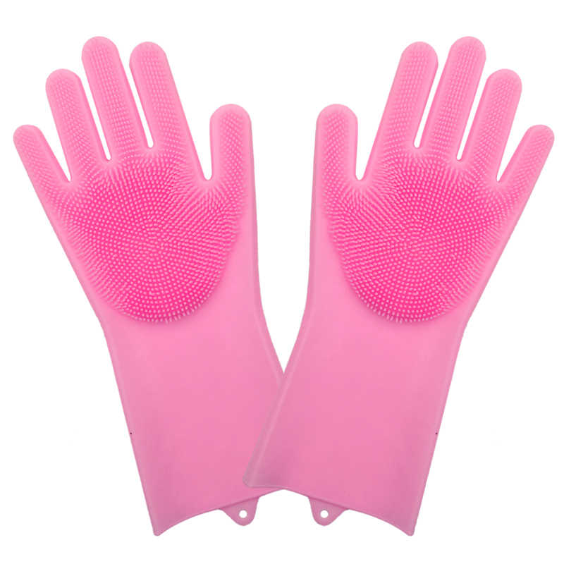 2PCS/Pair Both Hands Magic Silicone Rubber Dish Washing Gloves Eco-Friendly Scrubber Cleaning for Multipurpose Kitchen Bathroom