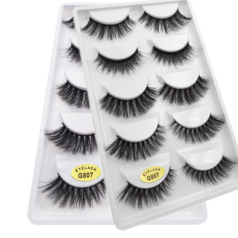 5 Pairs 100% Supernatural Lifelike Handmade False Eyelash 3D Strip Mink Lashes Thick Fake Faux Eyelashes Makeup Beauty