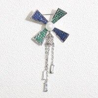 small fresh green blue CZ brooch corsage pins simple windmill fringed female 7*3CM
