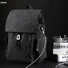 ZZINNA Multifunction USB charging 15.6 inch Laptop Women Schoolbag Business Casual Drawstring Closure Waterproof Man Backpack