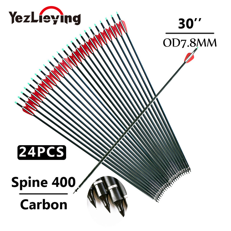 12/24PC 30 Inches Spine 400 Crossbow Bolt Carbon Arrows Red/White Feather For Bow And Arrow Hunting Recurve Bow Archery
