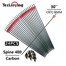 все цены на 24pcs Hunting Carbon Arrow Length 30 Inches Spine 400 Red and White Feather Replaceable arrow heads for Recurve/Compound Bow онлайн