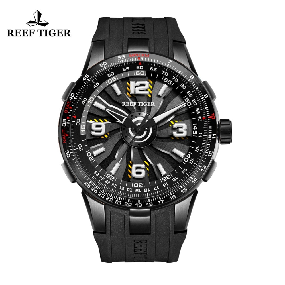 New Reef Tiger / RT Sportieve herenhorloges Automatic Black Steel - Herenhorloges