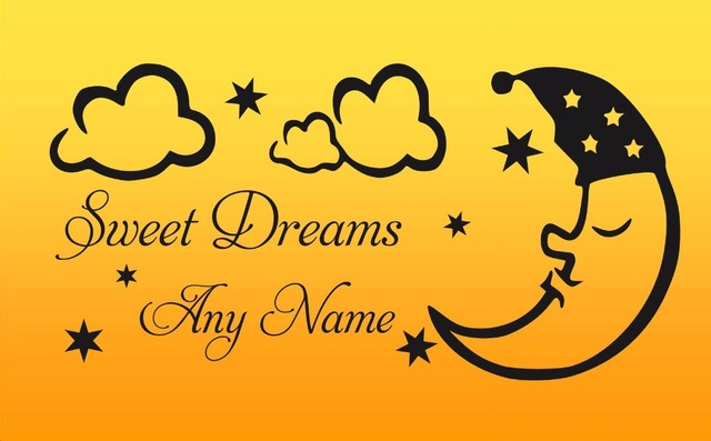 Personalised Sweet Dreams Vinyl Wall Sticker Any Name Art Decal ...