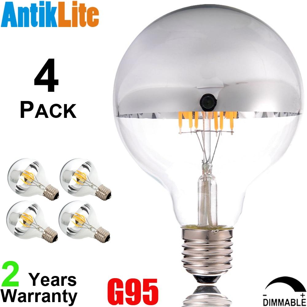 230 240 Volts G95 E27 Copper Gold Crown LED Large Globe Retro Filament Bulb Silver Finish